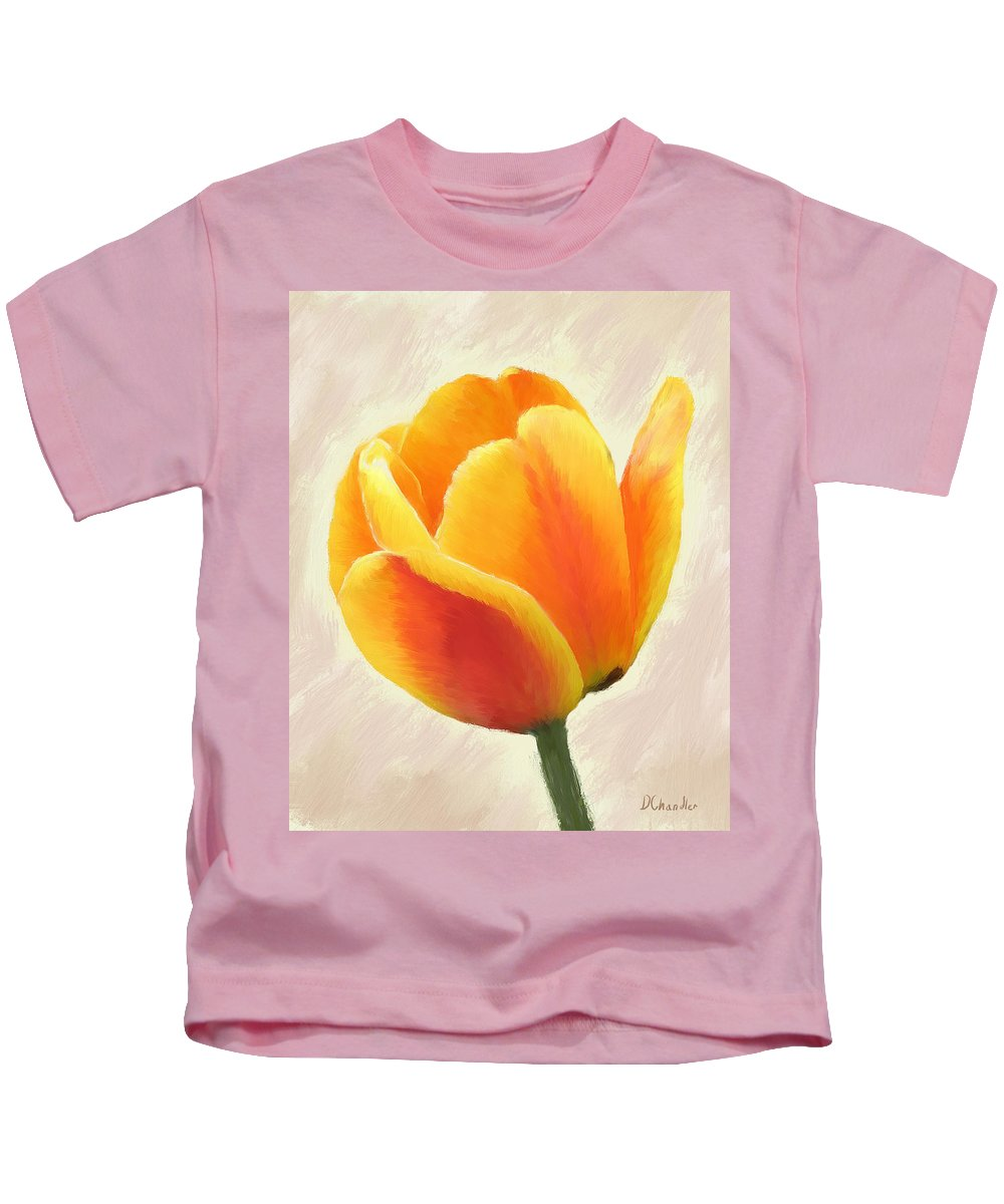 Tulips Kids T-Shirt featuring the painting Tulip Orange by Diane Chandler