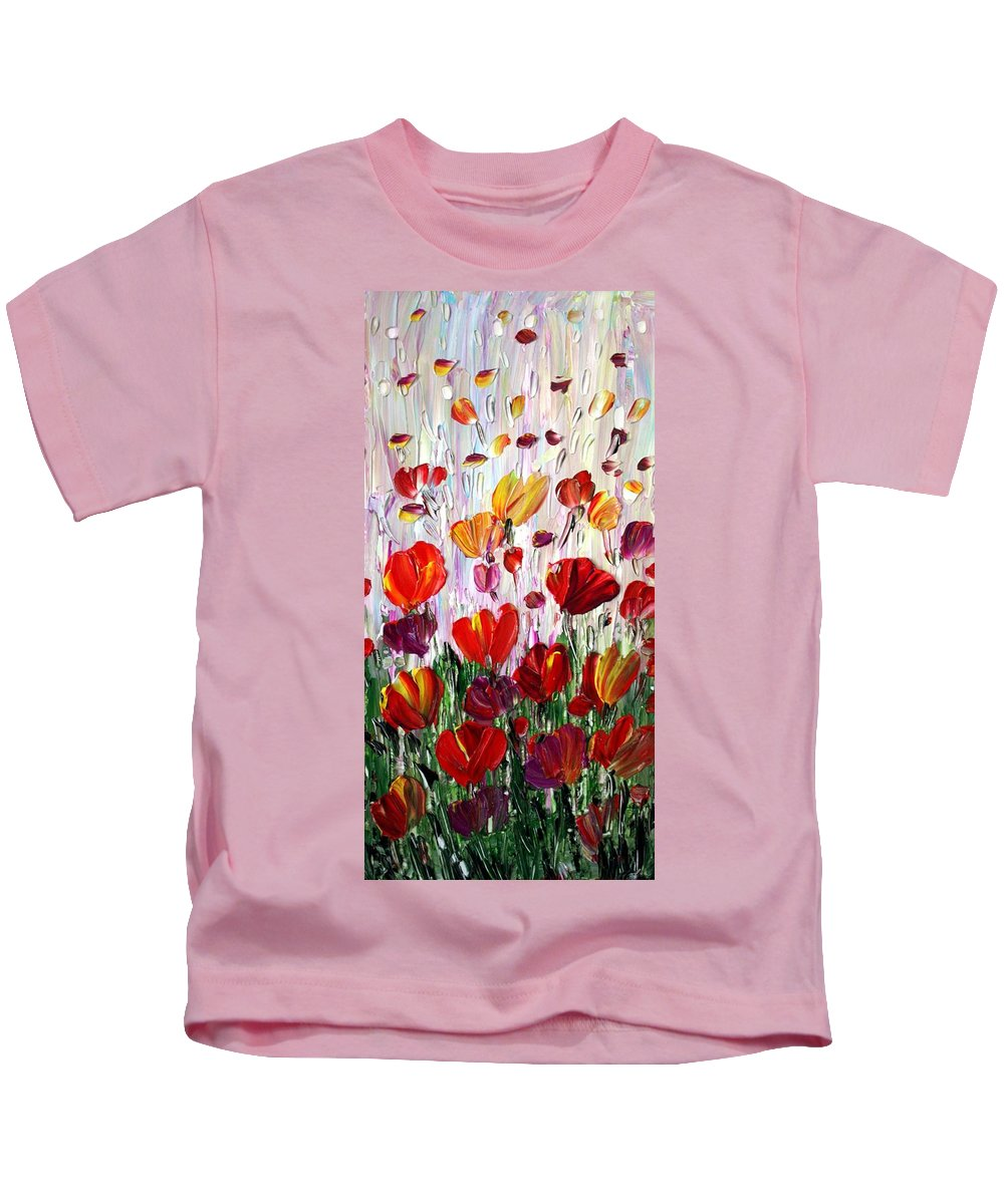 Flowers Kids T-Shirt featuring the painting Tulips Flowers Garden Seria by Luiza Vizoli