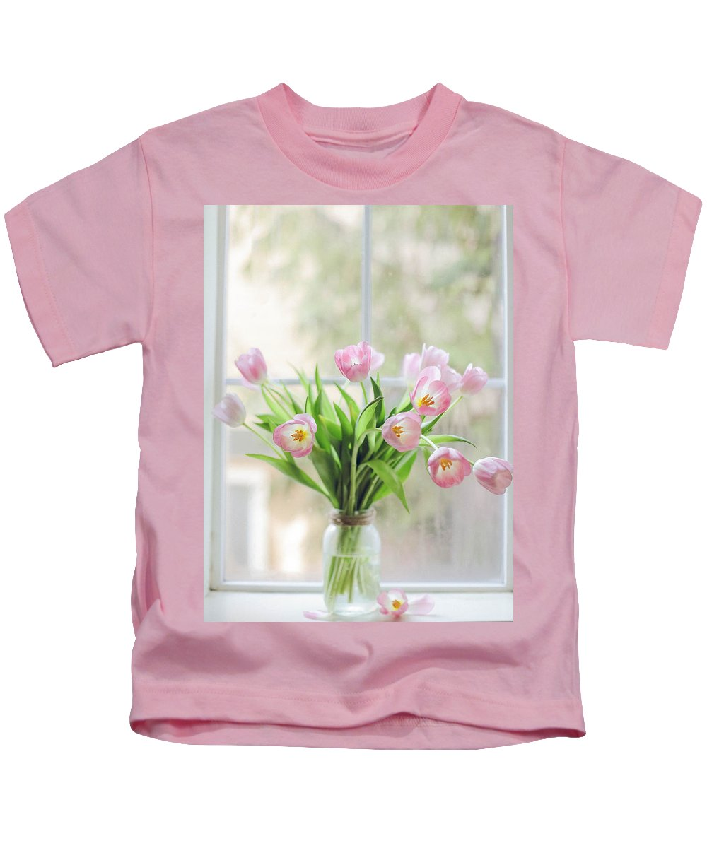 Pink Kids T-Shirt featuring the photograph Tulips On The Window by Ella Protsenko