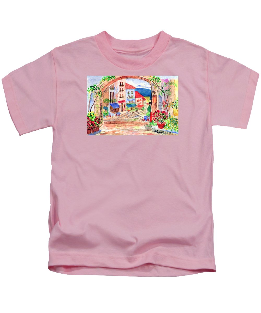 Tuscan Archway Kids T-Shirt featuring the painting Tuscan Archway II by Arlene Wright-Correll