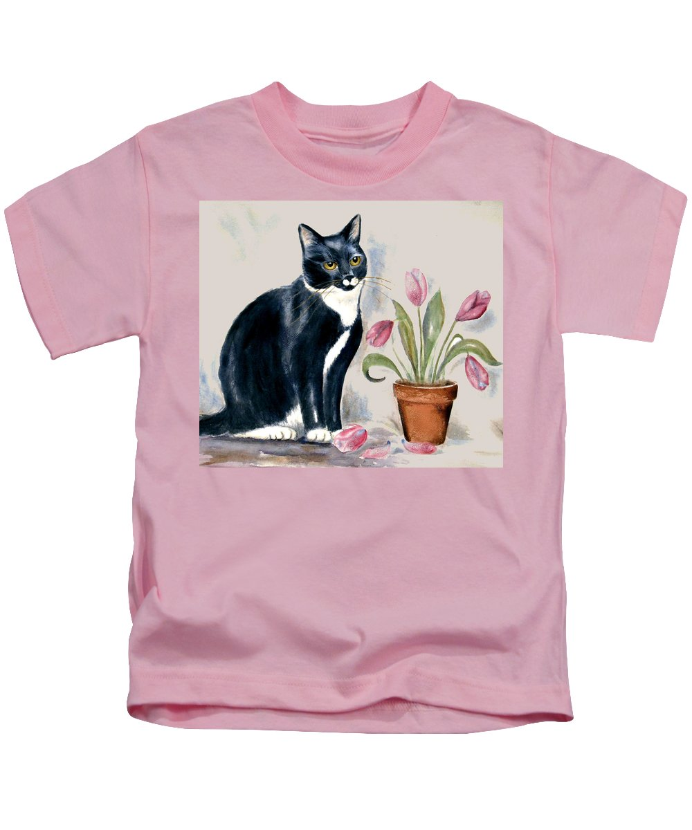 Cat Kids T-Shirt featuring the painting Tuxedo Cat Sitting By The Pink Tulips by Frances Gillotti