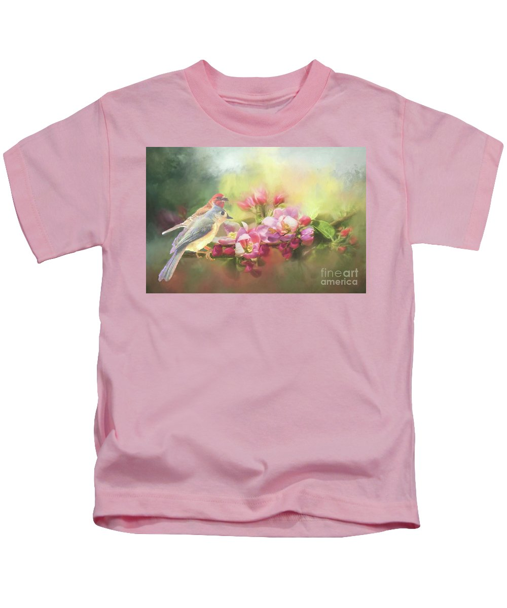 Birds Kids T-Shirt featuring the photograph Two Birds Admiring The View by Janette Boyd
