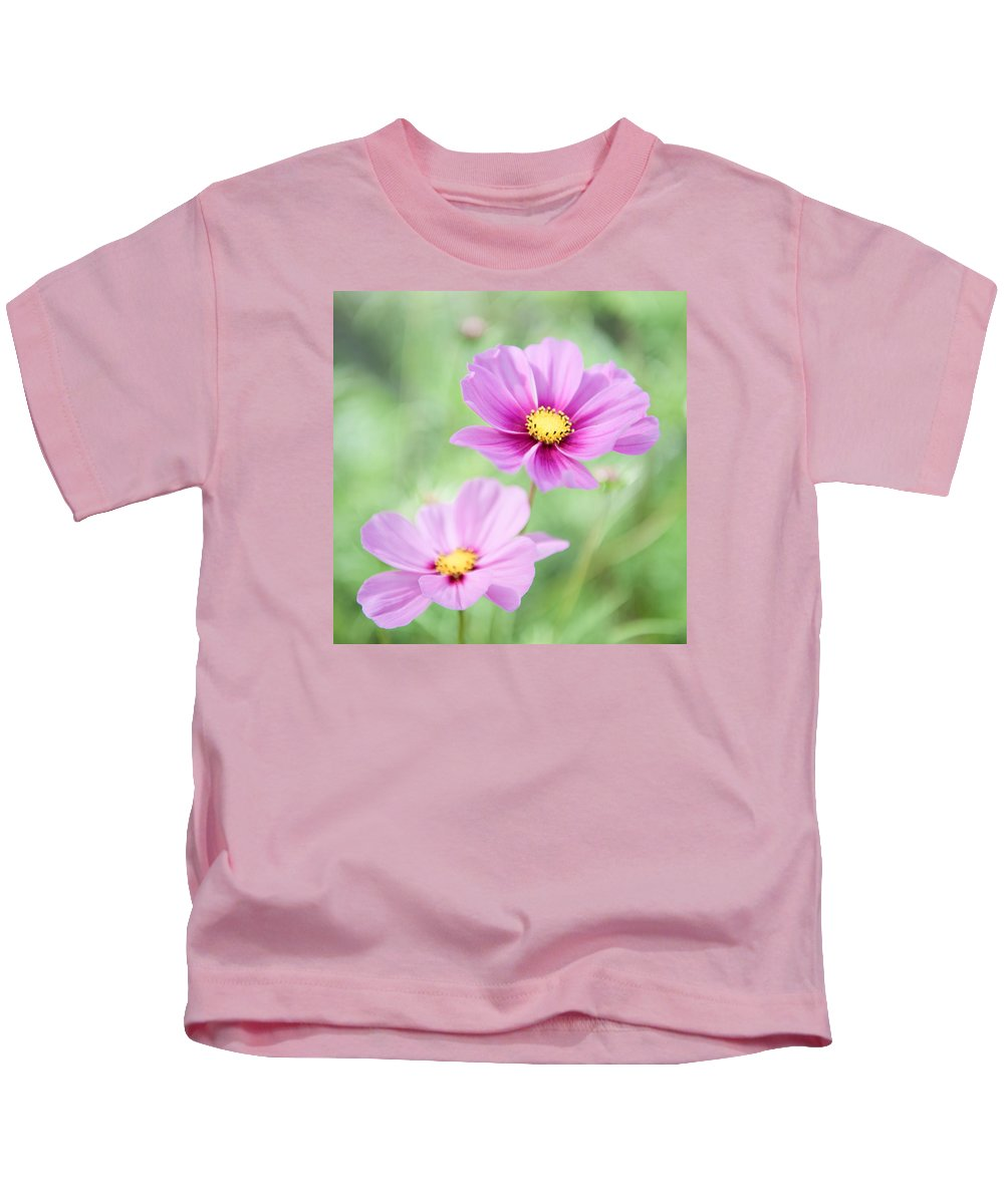 Two Kids T-Shirt featuring the photograph Two Purple Cosmos Flowers by Helen Northcott