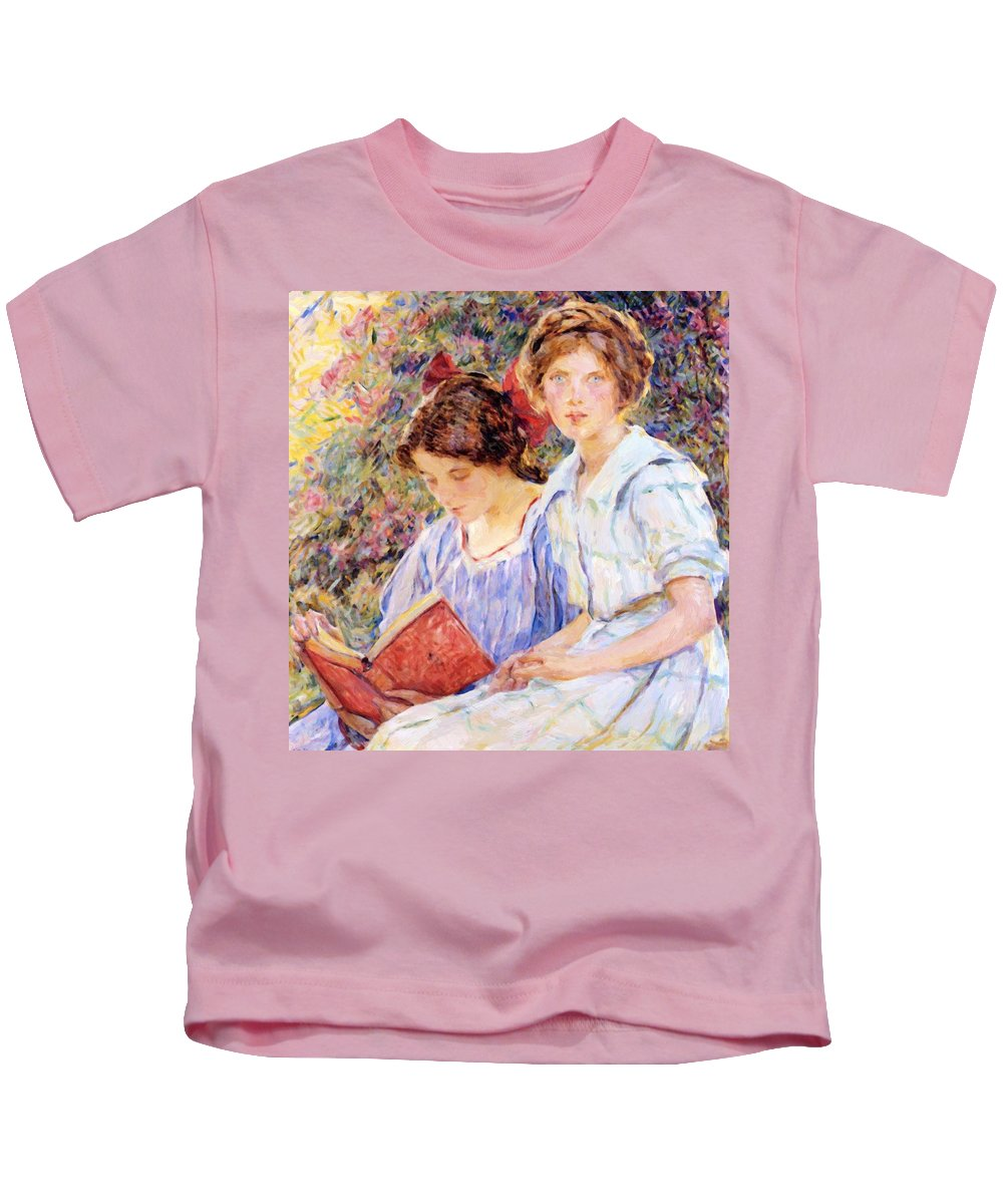 Two Kids T-Shirt featuring the painting Two Women Reading by Reid Robert Lewis