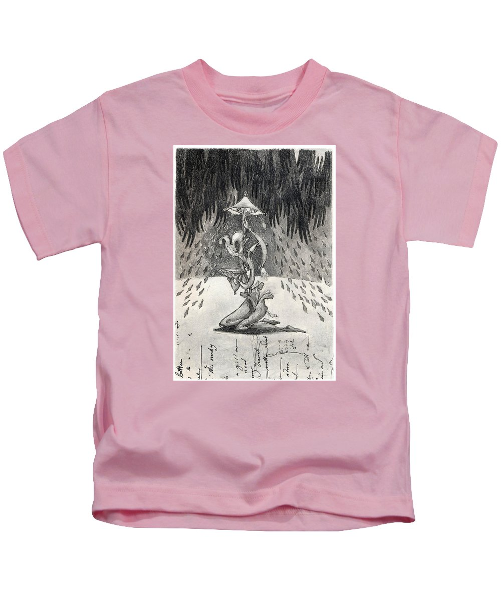 Umbrella Kids T-Shirt featuring the drawing Umbrella Moon by Juel Grant