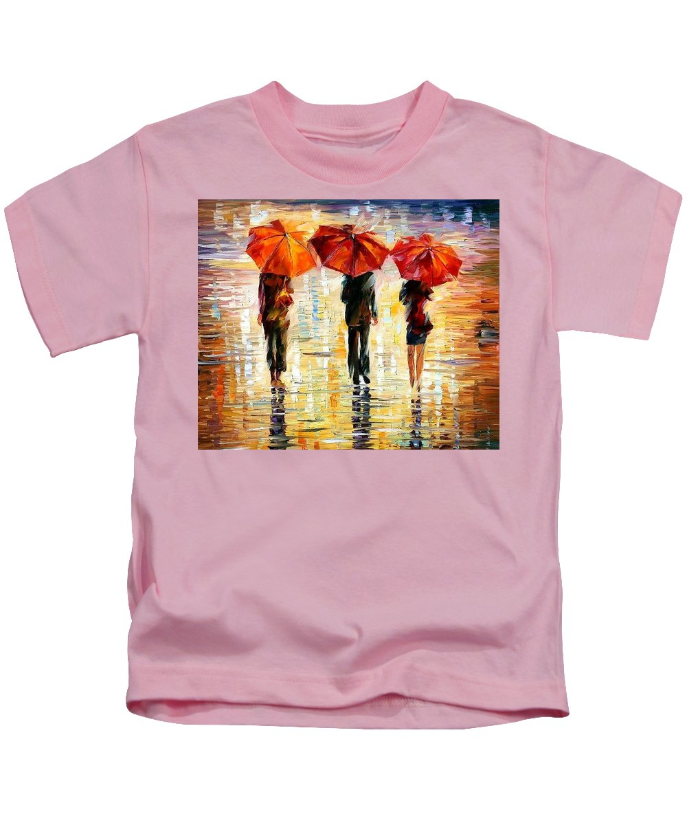People Kids T-Shirt featuring the painting Umbrellas by Leonid Afremov