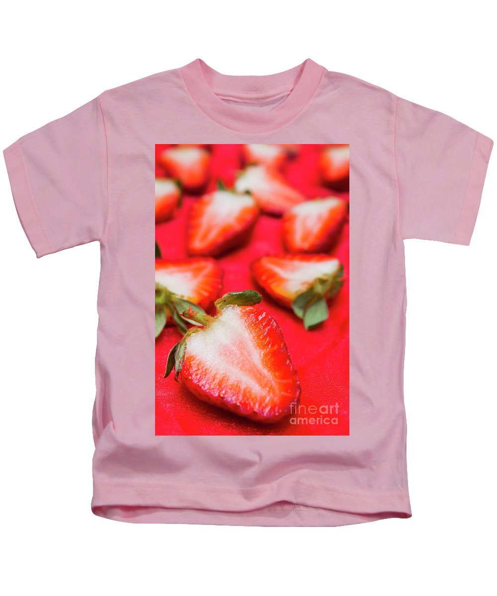 Strawberries Kids T-Shirt featuring the photograph Various Sliced Strawberries Close Up by Jorgo Photography - Wall Art Gallery