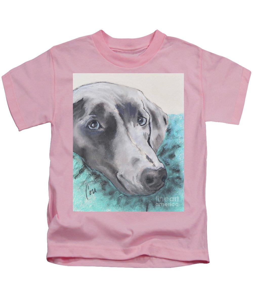 Weimaraner Kids T-Shirt featuring the pastel Vegas the Weimaraner by Cori Solomon