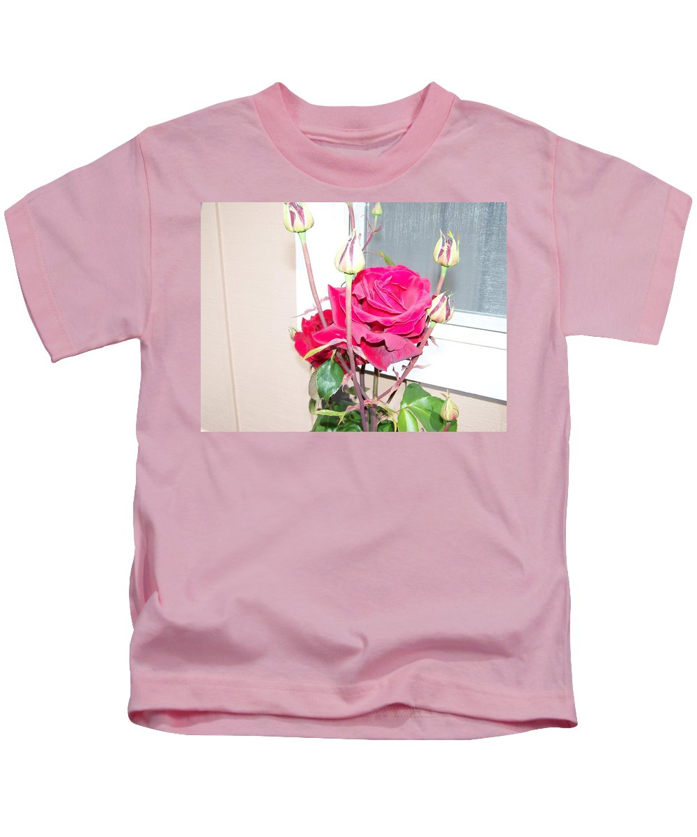Digital Photography Artwork Kids T-Shirt featuring the photograph Velvet Red Rose Of Sharon by Laurie Kidd