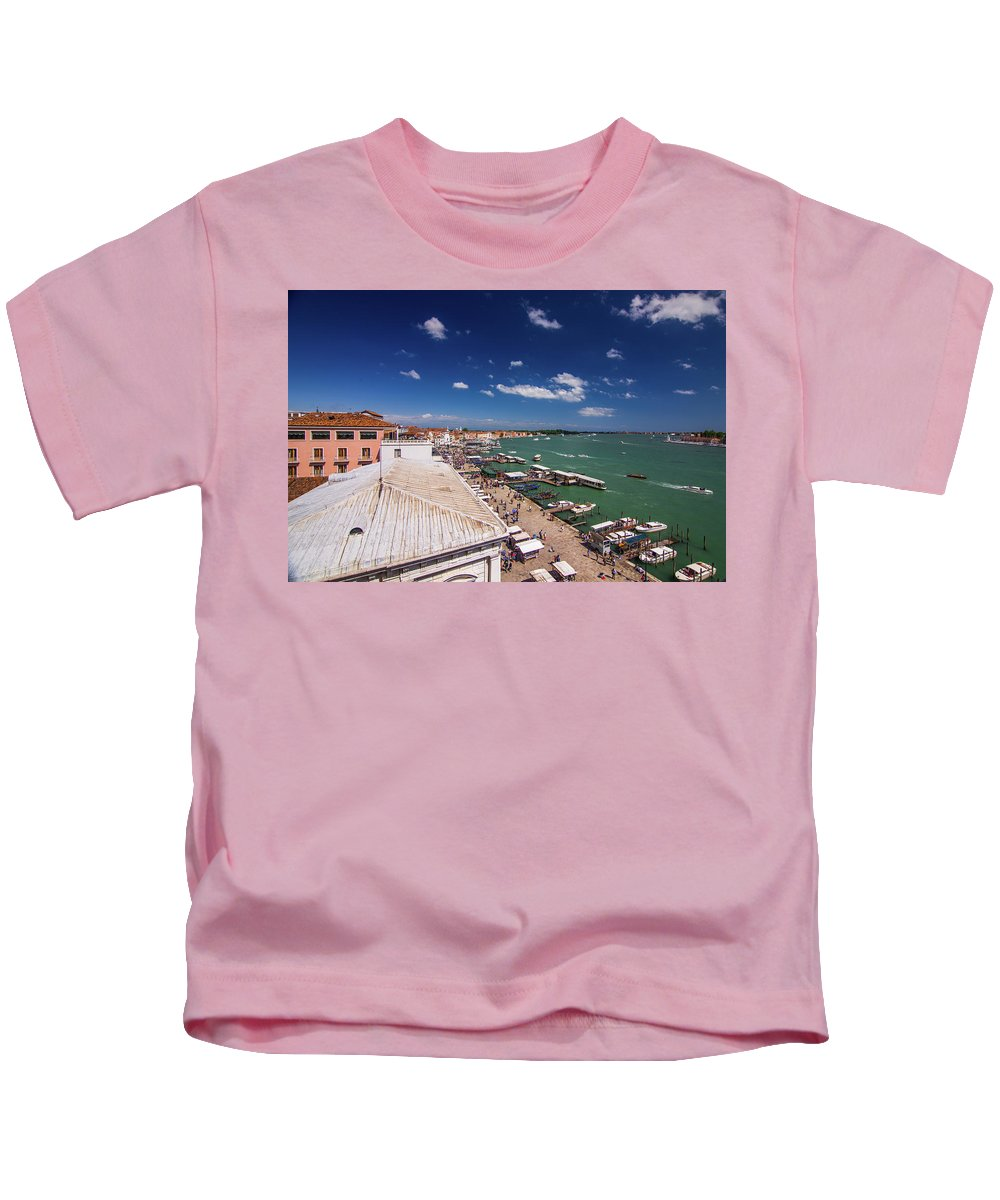 Italy Kids T-Shirt featuring the photograph Venice Lagoon Panorama - Bird View by Anastacia Petropavlovskaja