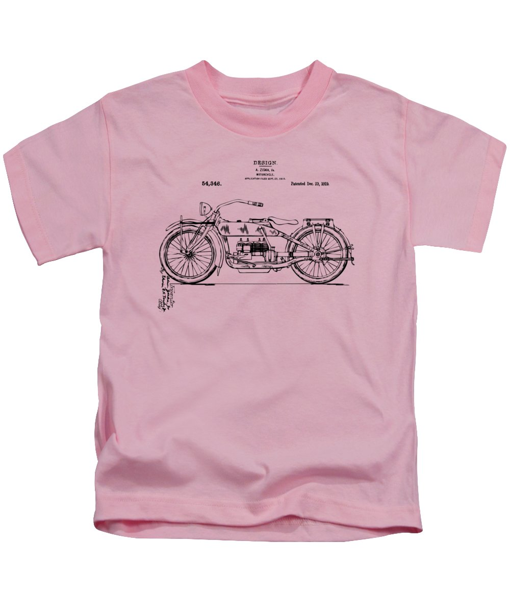 Vintage Harley Davidson Motorcycle 1919 Patent Artwork Kids T Shirt Pink Featuring The Digital Art