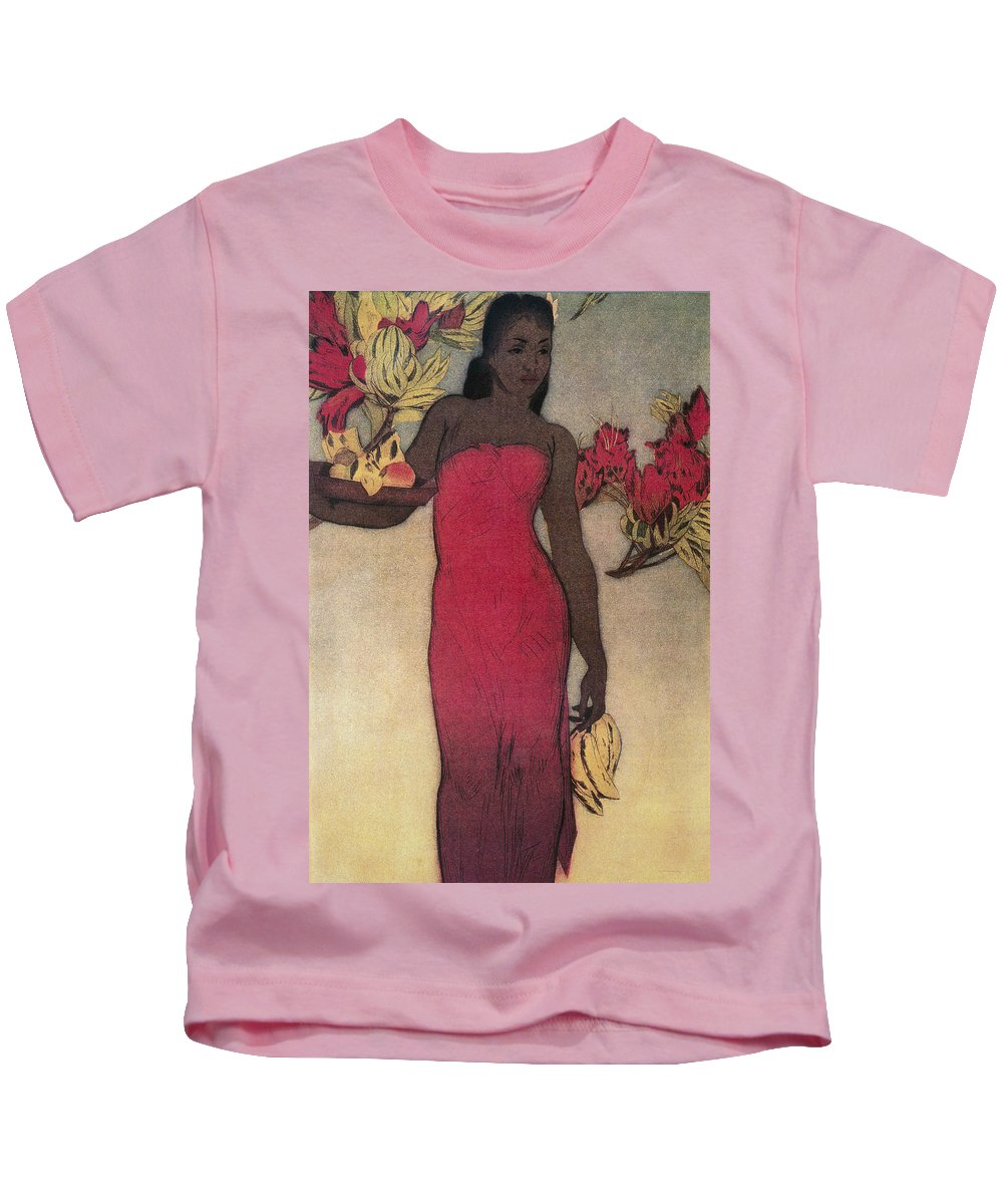 Archival Kids T-Shirt featuring the painting Vintage Hawaiian Woman by Hawaiiam Legacy Archives - Printscapes