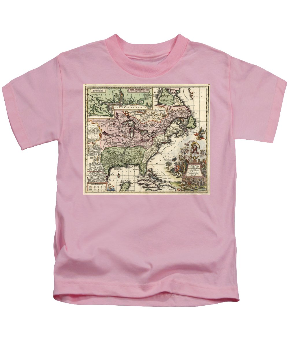 America Kids T-Shirt featuring the drawing Vintage Map Of America - 1720 by CartographyAssociates