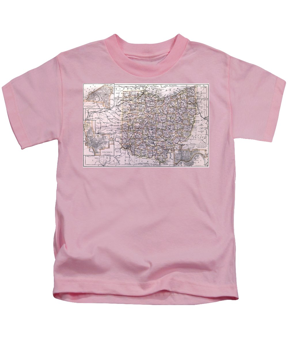 Ohio Kids T-Shirt featuring the drawing Vintage Map Of Ohio - 1884 by CartographyAssociates