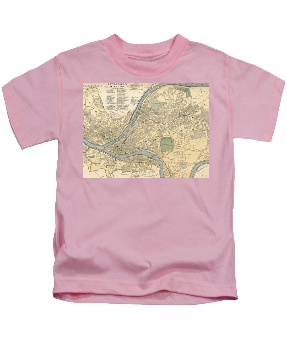 Pittsburgh Kids T-Shirt featuring the drawing Vintage Map Of Pittsburgh Pa - 1891 by CartographyAssociates