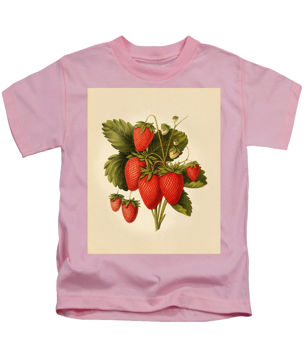 Strawberry Kids T-Shirt featuring the mixed media Vintage Strawberries by Pati Photography