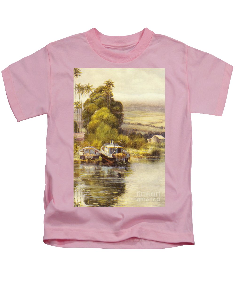 1922 Kids T-Shirt featuring the painting Waiakea Vintage Art by Hawaiian Legacy Archive - Printscapes