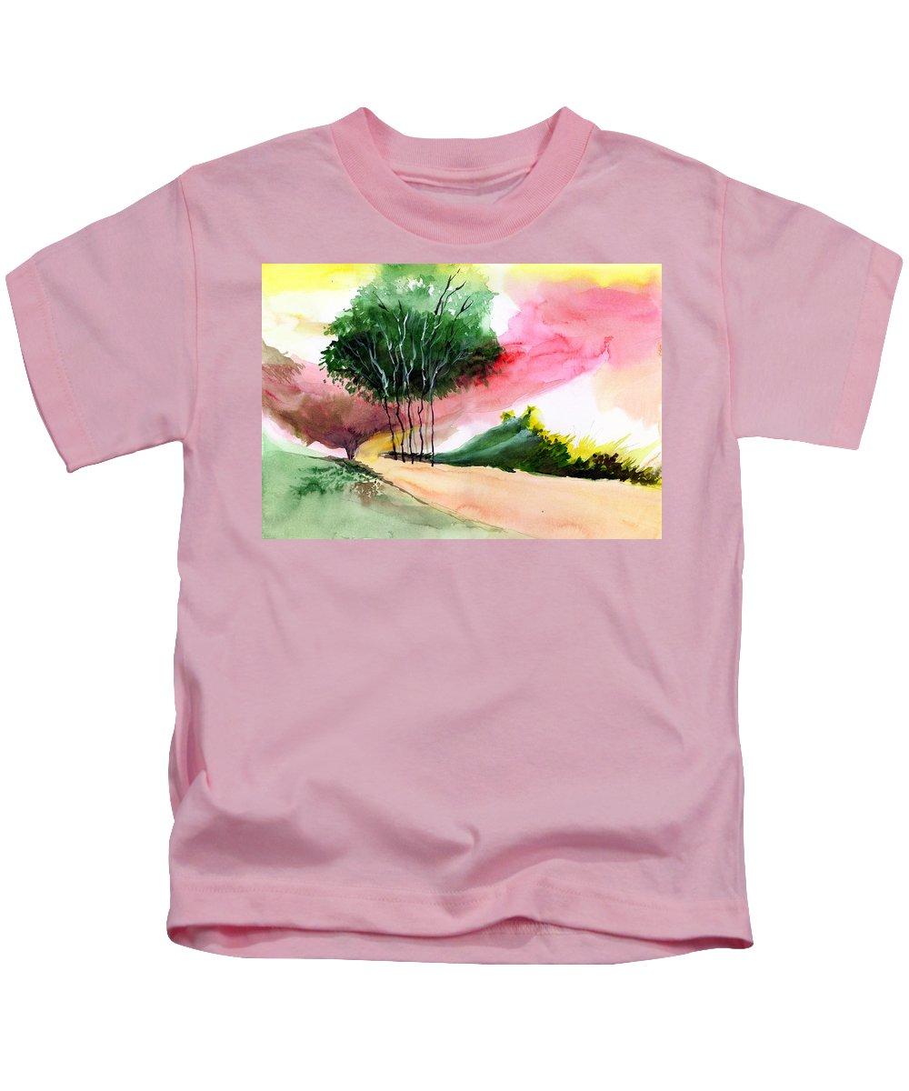 Watercolor Kids T-Shirt featuring the painting Walk Away by Anil Nene