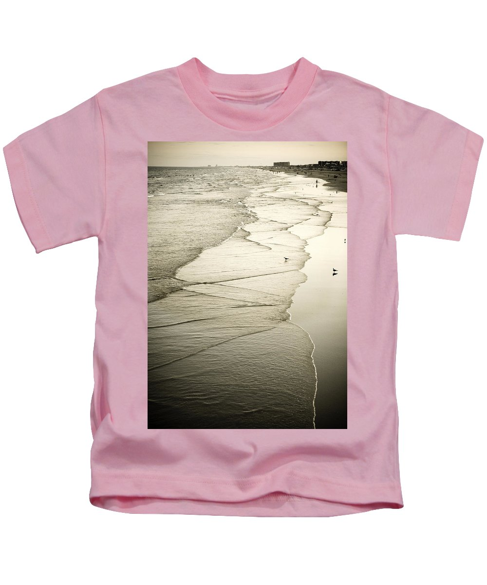 Ocean Kids T-Shirt featuring the photograph Walking Along The Beach At Sunrise by Marilyn Hunt