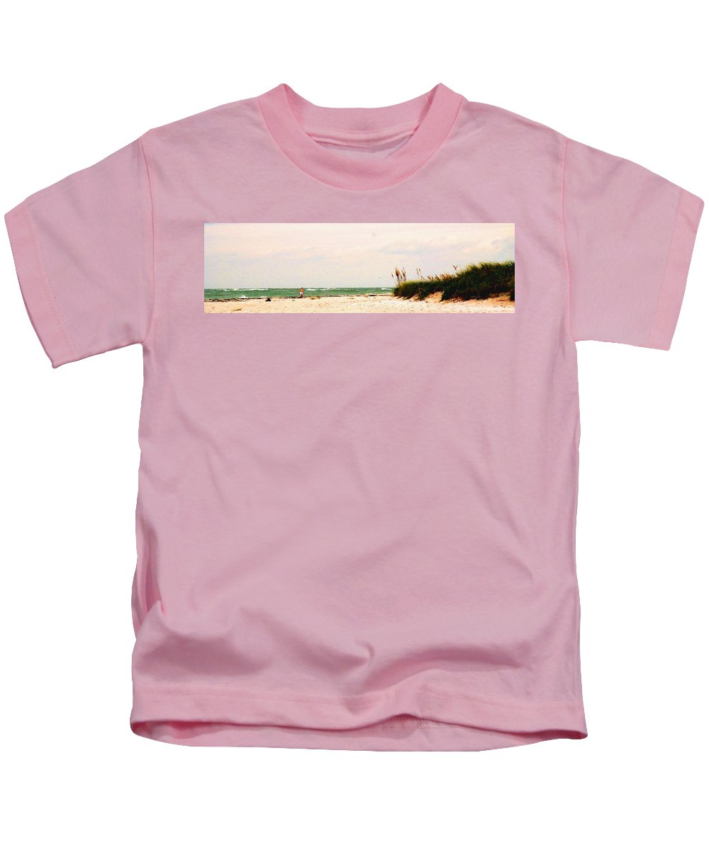 Florida Kids T-Shirt featuring the photograph Walking The Beach by Ian MacDonald