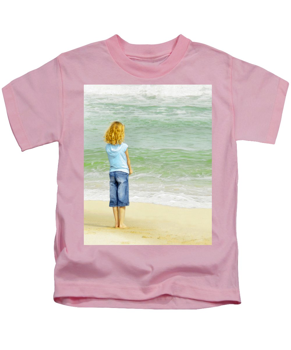 Girl Kids T-Shirt featuring the photograph Watching The Waves by Francesa Miller