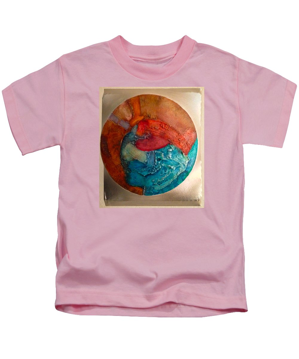 Aerial View Abstract Kids T-Shirt featuring the painting Watching The Waves From Heaven by Terry Hardin