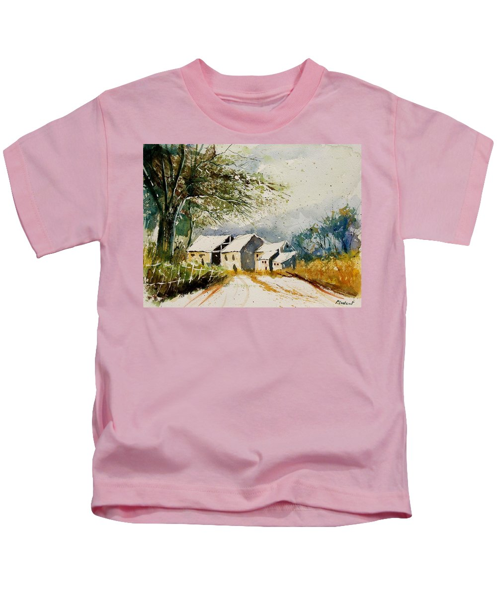 Landscape Kids T-Shirt featuring the painting Watercolor 010708 by Pol Ledent