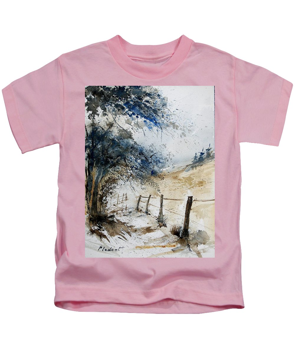 Winter Kids T-Shirt featuring the painting Watercolor 061106 by Pol Ledent