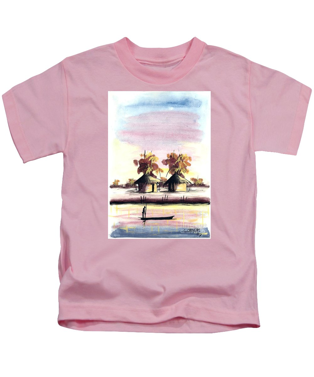 Africa Kids T-Shirt featuring the painting Watercolor 98 by Chrisfold Chayera