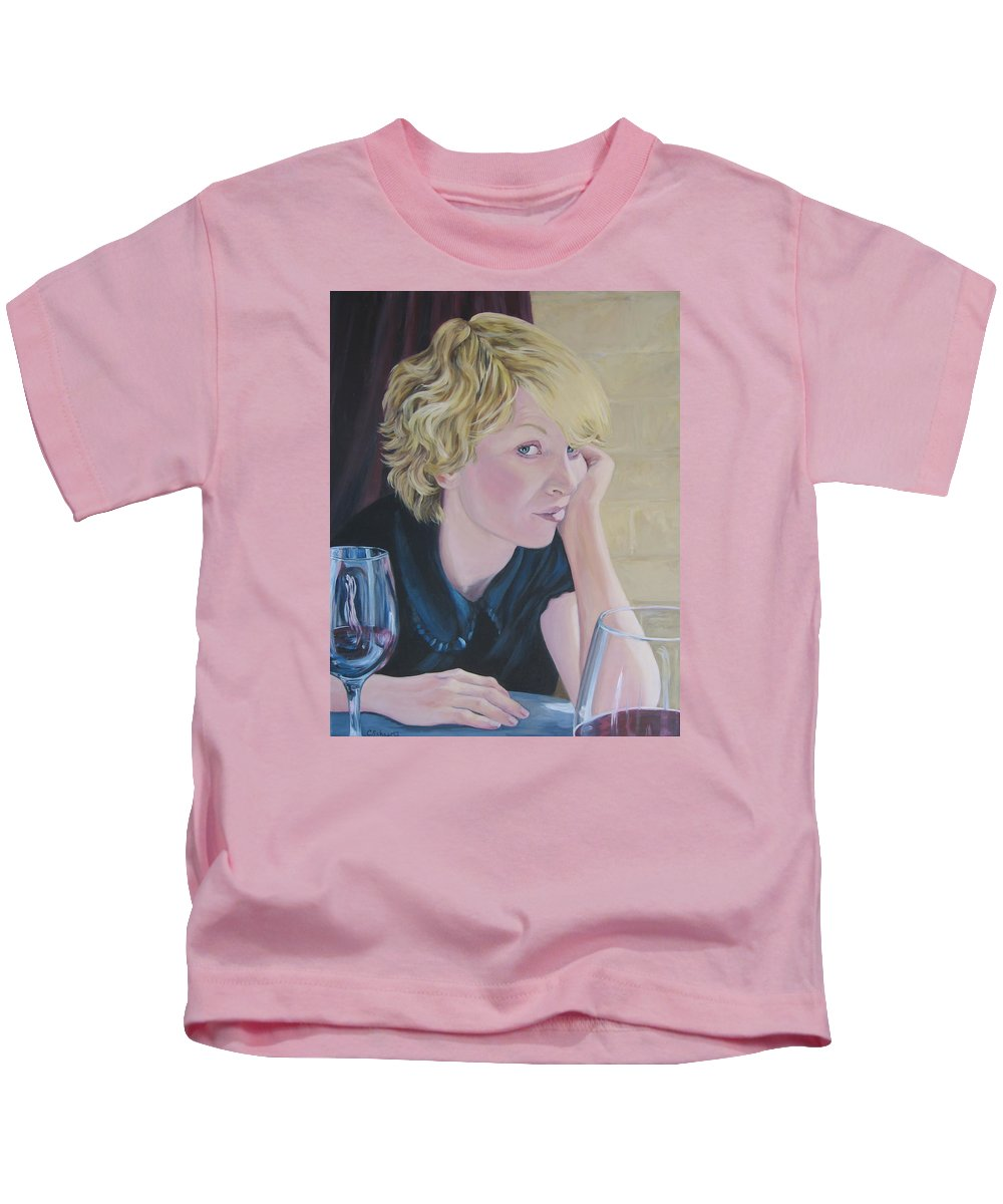 Portrait Kids T-Shirt featuring the painting Well by Connie Schaertl