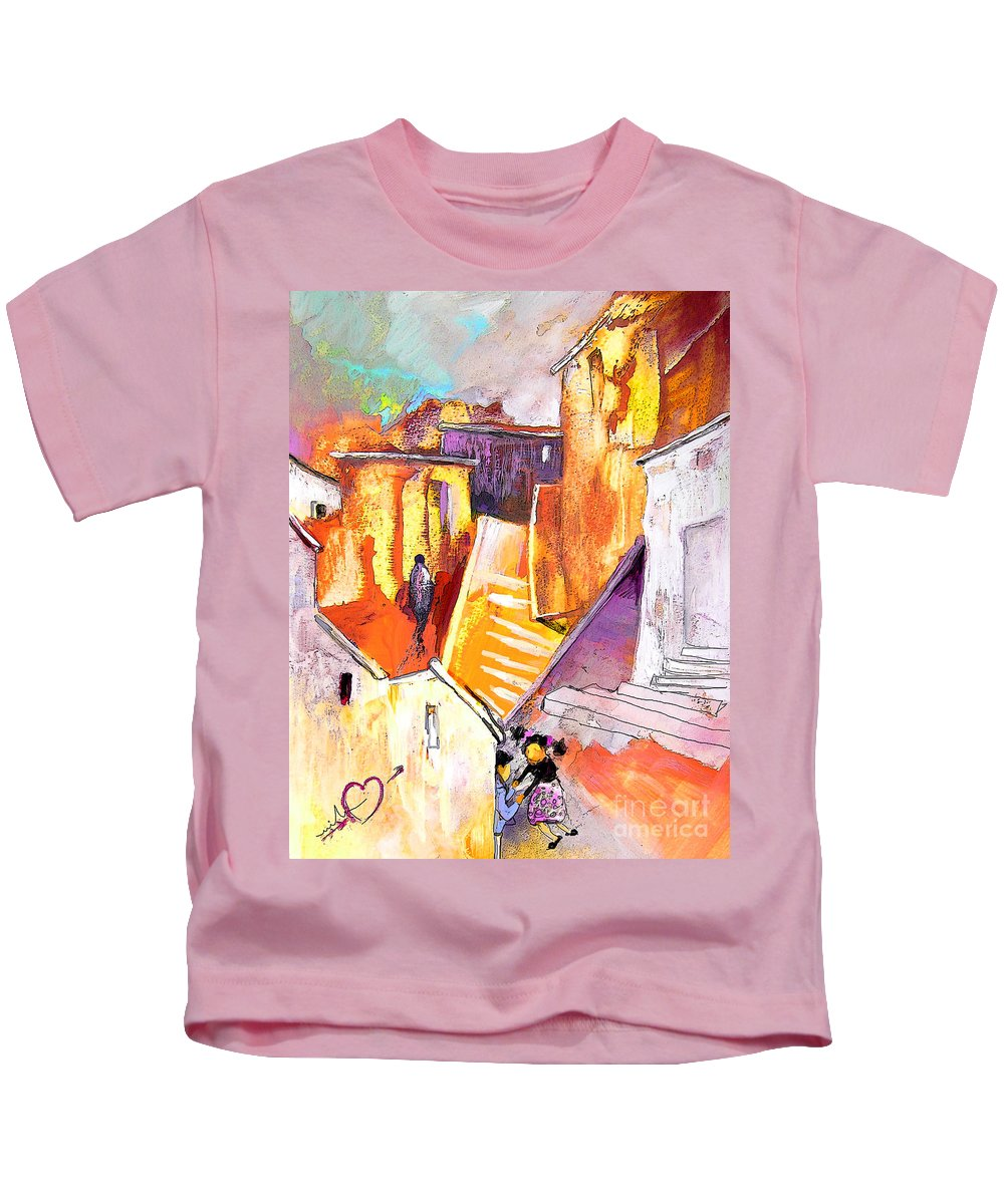 Townscape Kids T-Shirt featuring the painting When The Cat Is Away The Mice Will Dance by Miki De Goodaboom