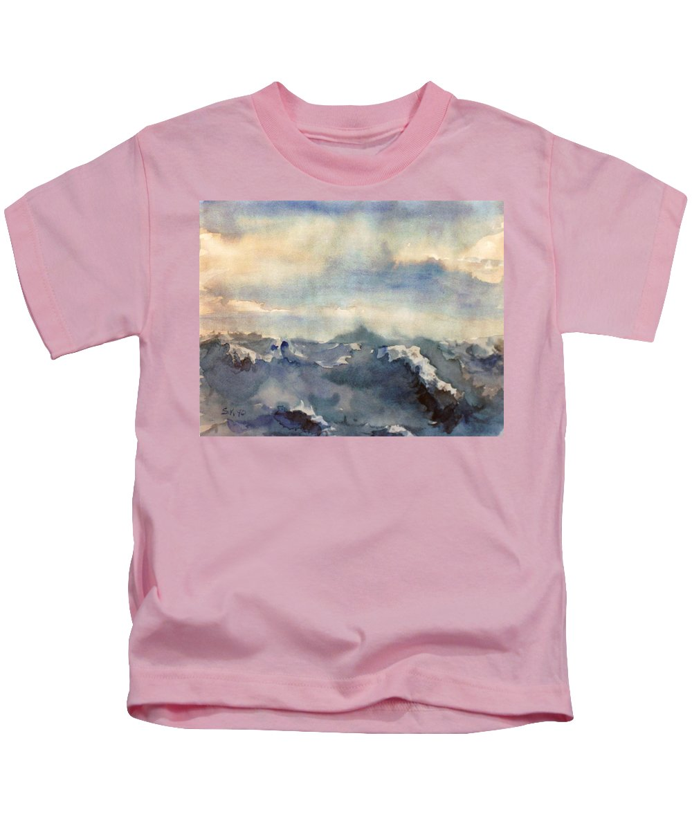 Seascape Kids T-Shirt featuring the painting Where Sky Meets Ocean by Steve Karol