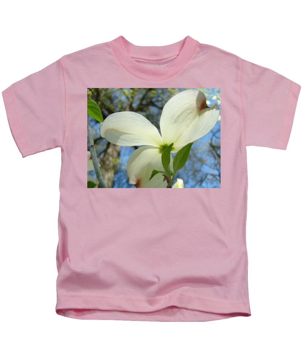 Giclee Art Print Kids T-Shirt featuring the photograph White Dogwood Flower Art Prints Blue Sky Baslee Troutman by Baslee Troutman