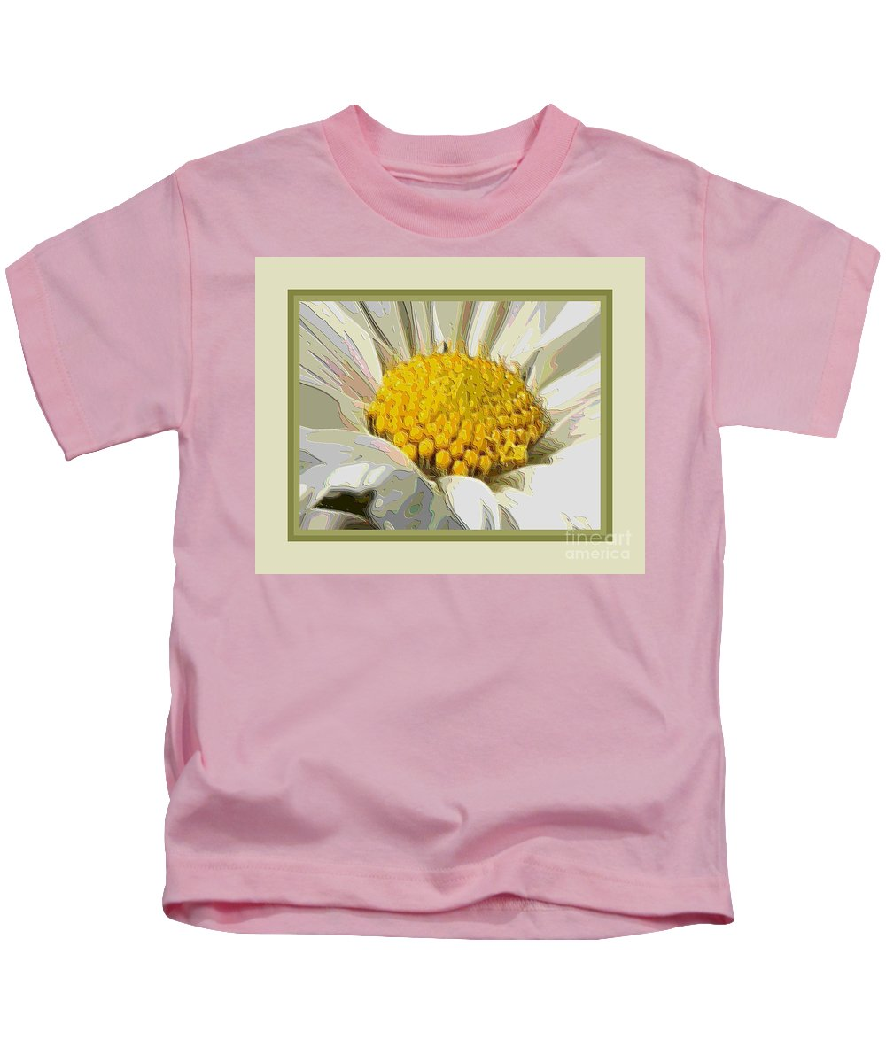 White Flower Kids T-Shirt featuring the photograph White Flower Abstract With Border by Carol Groenen