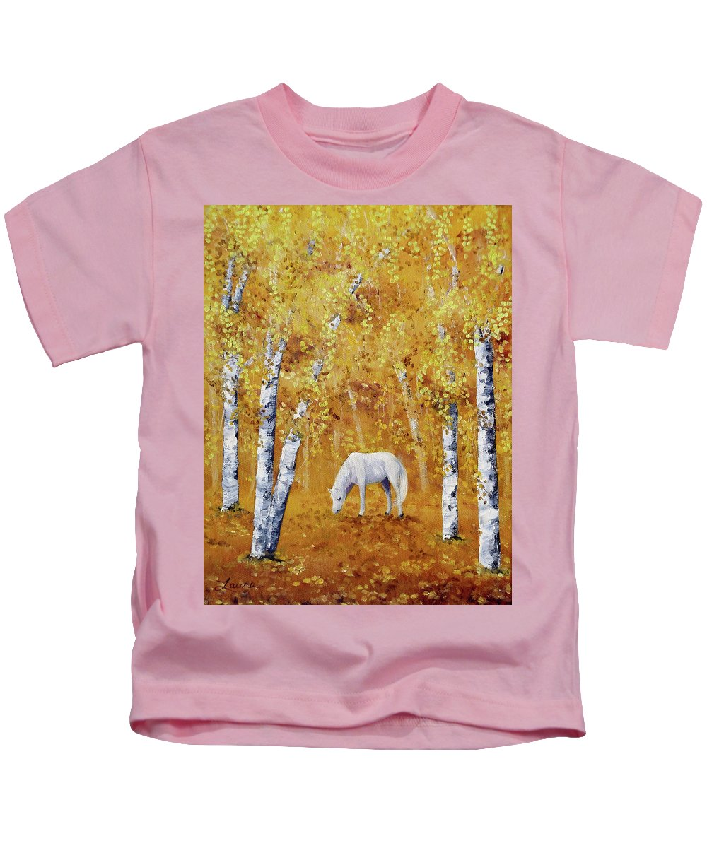 Landscape Kids T-Shirt featuring the painting White Horse In Golden Woods by Laura Iverson