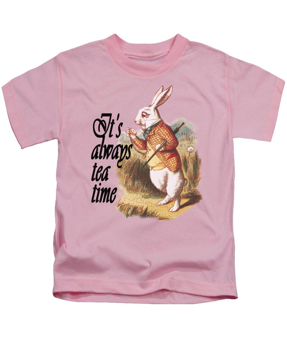 White Kids T-Shirt featuring the digital art White Rabbit Alice in Wonderland Vintage Art by Anna W