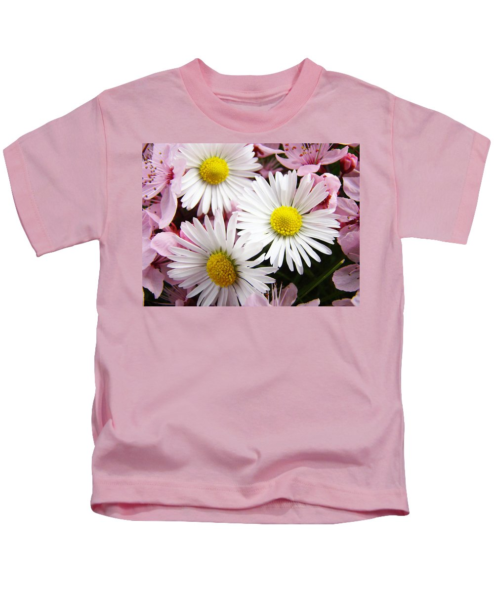 Colorful Kids T-Shirt featuring the photograph White Yellow Daisy Flowers Art Prints Pink Blossoms by Baslee Troutman