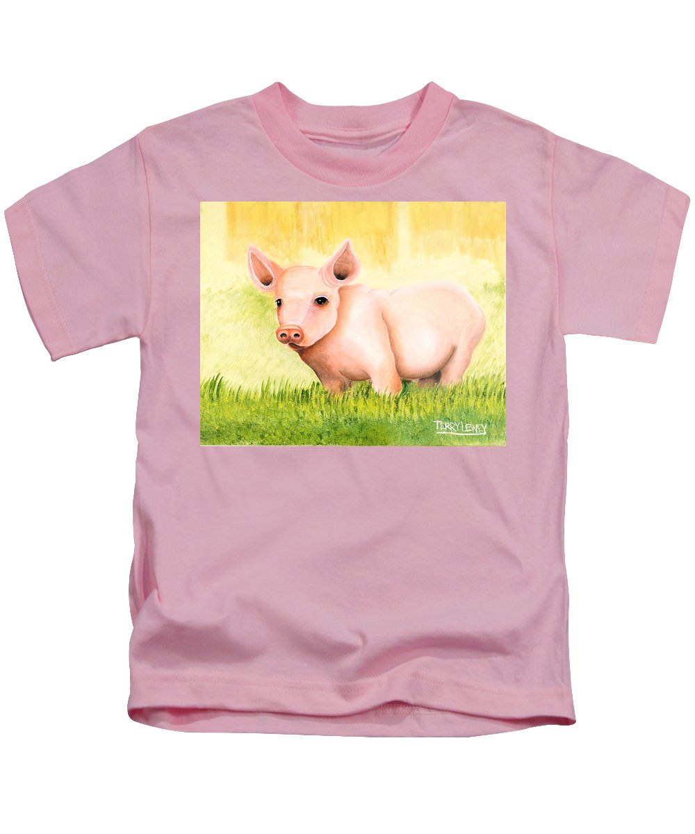 Pig Kids T-Shirt featuring the painting Wilber by Terry Lewey