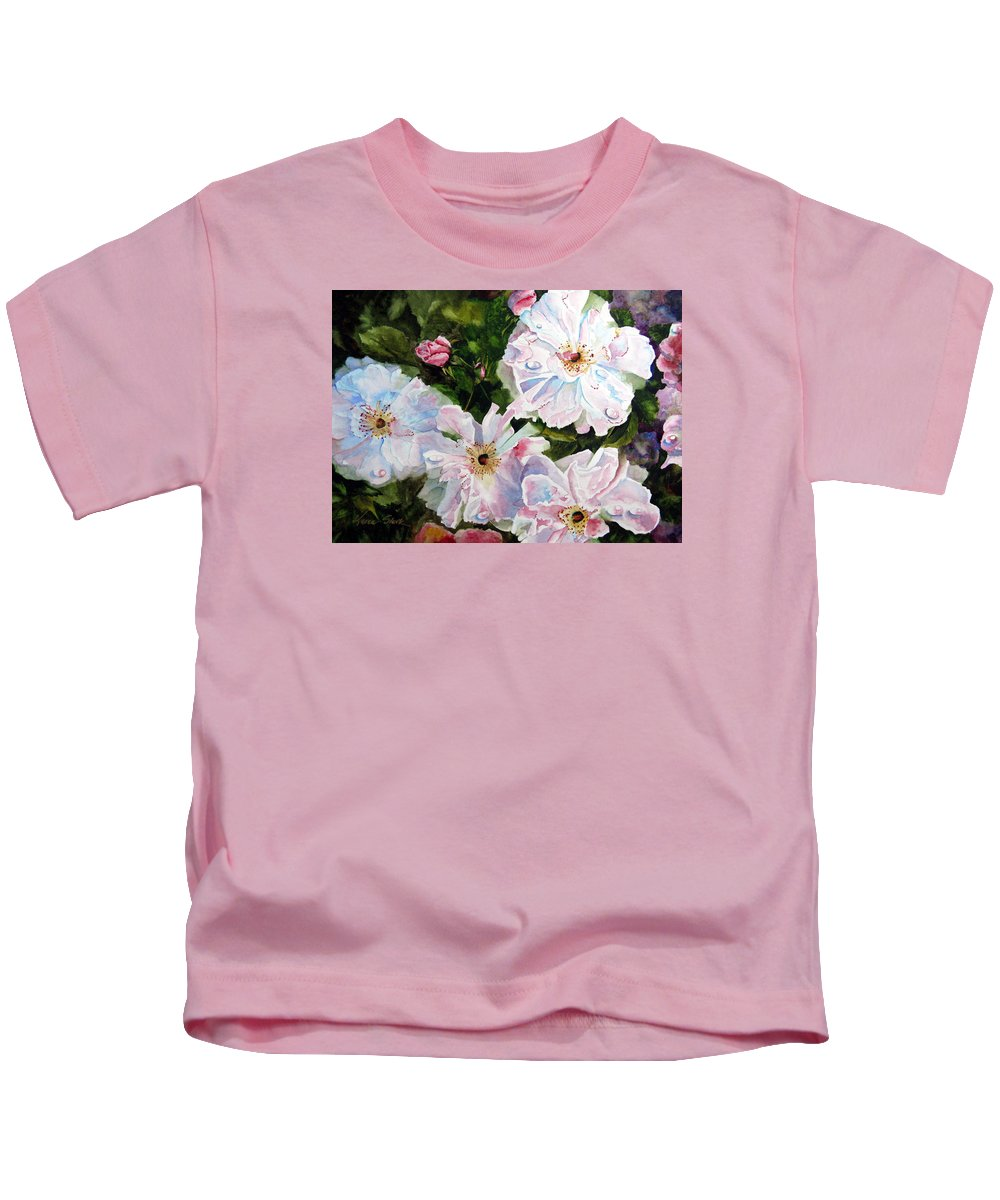 Flowers Kids T-Shirt featuring the painting Wild Roses by Karen Stark