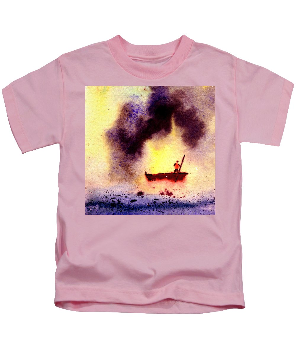 Landscape Kids T-Shirt featuring the painting Will Power by Anil Nene