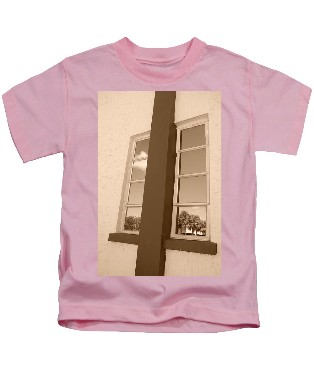 Sepia Kids T-Shirt featuring the photograph Window T Glass by Rob Hans