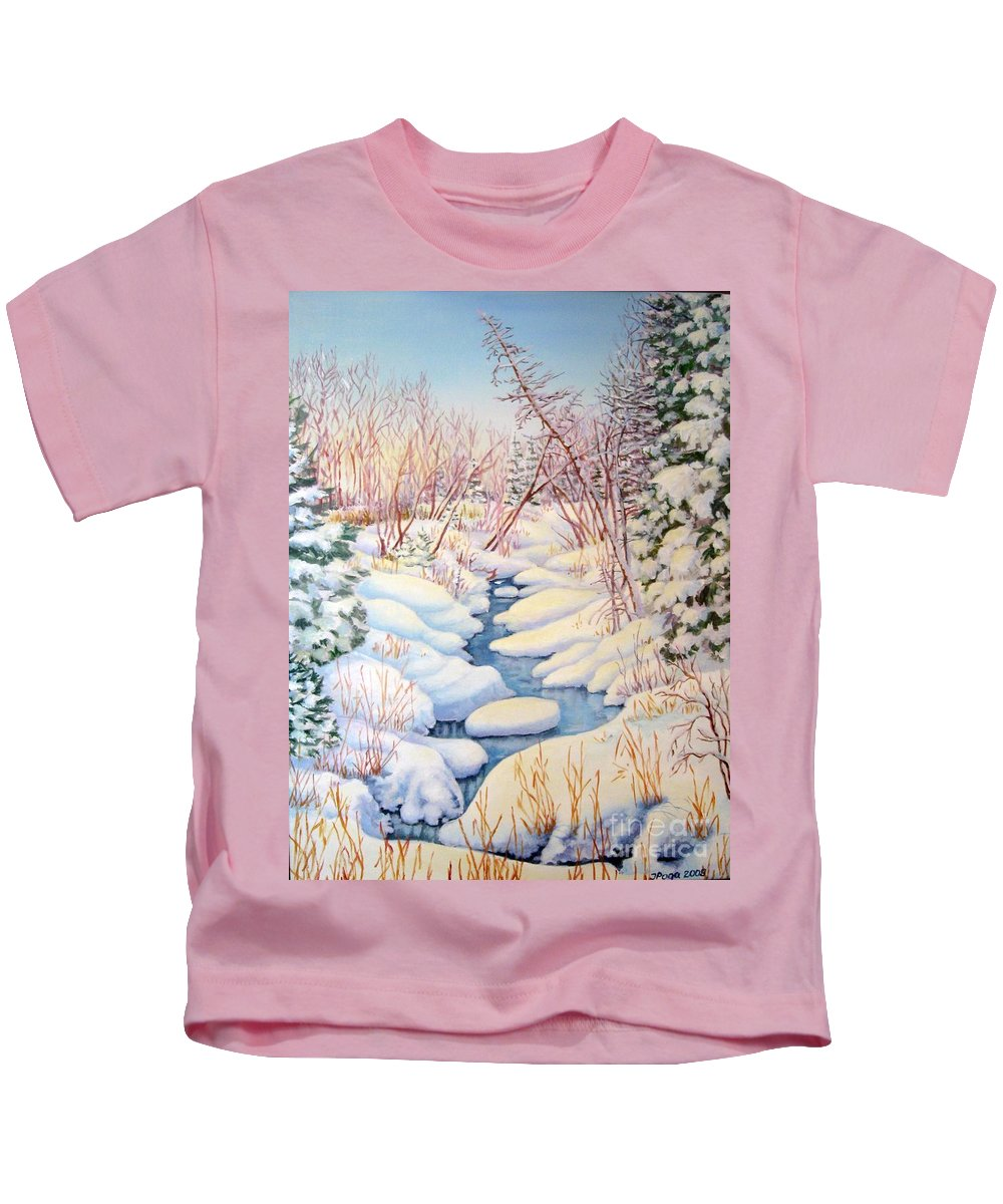 Winter Kids T-Shirt featuring the painting Winter Creek 1 by Inese Poga