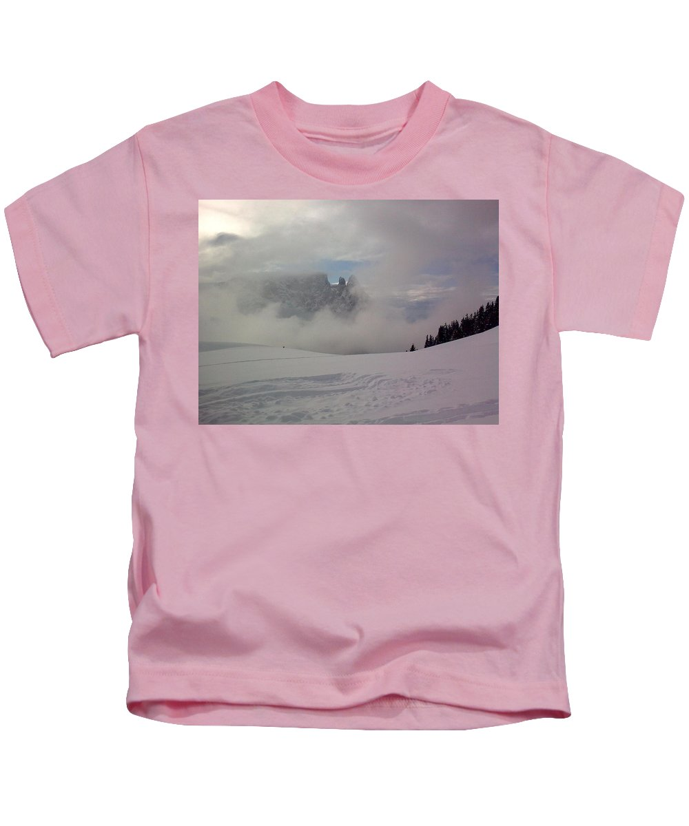 Landscape Kids T-Shirt featuring the photograph Winter In The Dolomite Alps by Valerie Ornstein