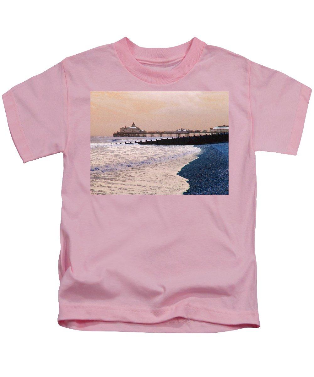 Winter Kids T-Shirt featuring the photograph Winter Pier by Heather Lennox