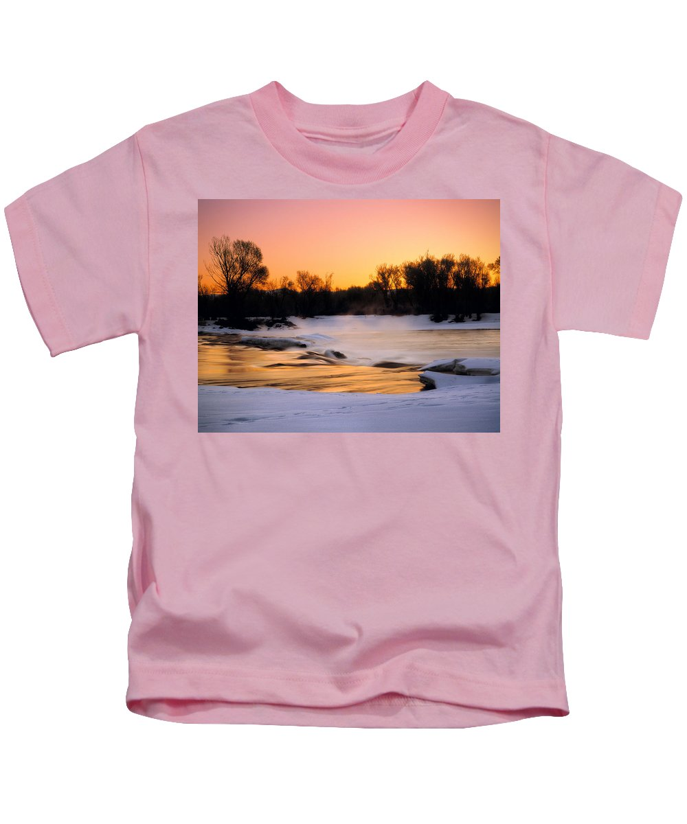 Winter Kids T-Shirt featuring the photograph Winter River Sunrise by Leland D Howard