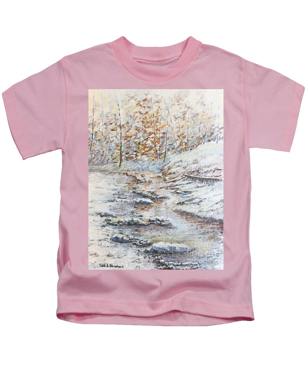 Landscape Kids T-Shirt featuring the painting Winter River by Todd A Blanchard