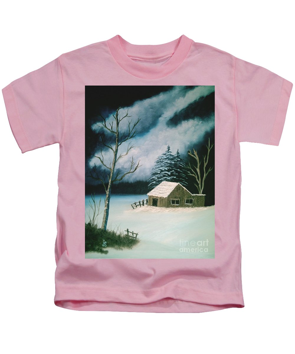 Winter Landscape Kids T-Shirt featuring the painting Winter Solitude by Jim Saltis