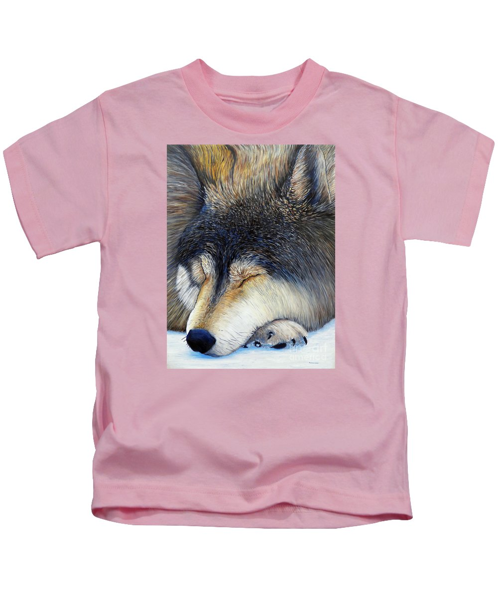 Wolf Kids T-Shirt featuring the painting Wolf Dreams by Brian Commerford
