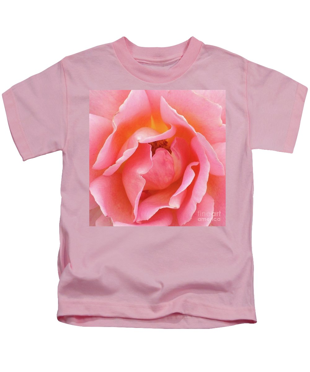 Macro Pink Rose Tinged With Yellow Kids T-Shirt featuring the photograph Womb by Steve Travis
