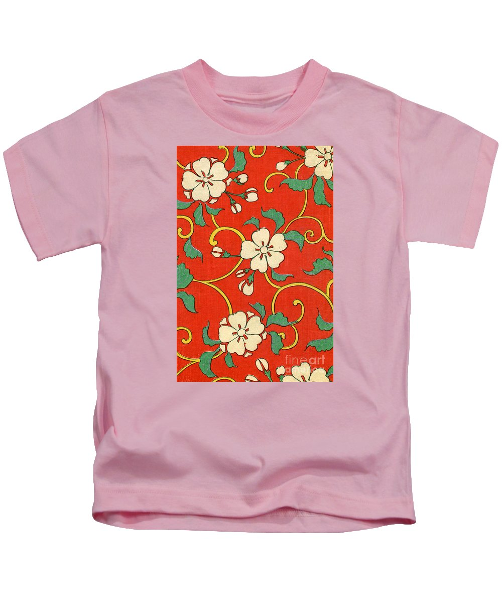 Floral Kids T-Shirt featuring the painting Woodblock Print Of Apple Blossoms by Japanese School